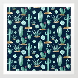CACTUS & SUCCULENT   Desert Plants on Navy Blue Art Print