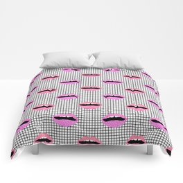 Lips - hot pink lips with grid modern abstract minimal pop art hipster urban brooklyn nashville Comforters