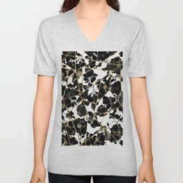 Geometric Abstract Black Floral Gold Triangles Unisex V-Neck
