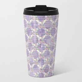 Roses & Forget Me Nots Wreath Purple Travel Mug