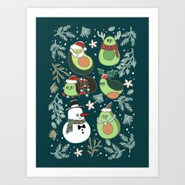 Christmas Avocado Art Print