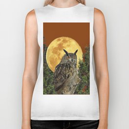 BROWN WILDERNESS OWL WITH FULL MOON & TREES Biker Tank