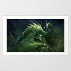 Green Crystal Dragon Art Print