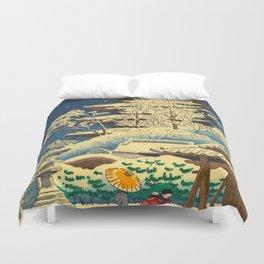 Japanese Woodblock Print Vintage Asian Art Colorful woodblock prints Shrine At Night Snow White Duvet Cover