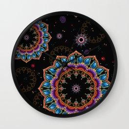 Teal, Hot Pink, Purple, Orange and Gold Jeweled Mandala Wall Clock