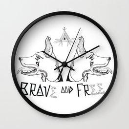 Brave & Free Wall Clock