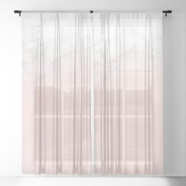 Blush Pink on White and Gray Marble II Sheer Curtain