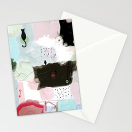 Peinture tons pastels chat oiseau bulles abstrait moderne Stationery Cards
