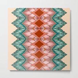 Diamond Leaves Pattern Metal Print