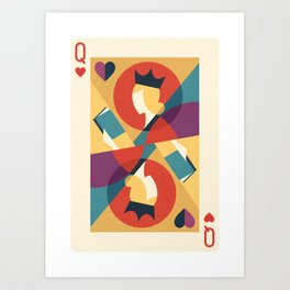 The Queen of Books (Playing Card Version) Art Print