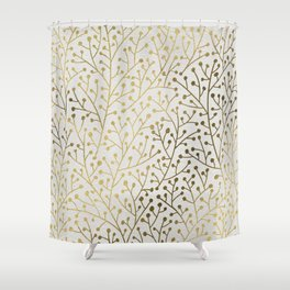 Gold Berry Branches Shower Curtain