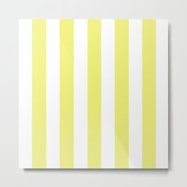 Sunny yellow - solid color - white vertical lines pattern Metal Print