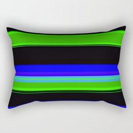 Black blue and green bold stripes Rectangular Pillow