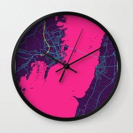 Kalmar Neon City Map, Kalmar Minimalist City Map Art Print Wall Clock