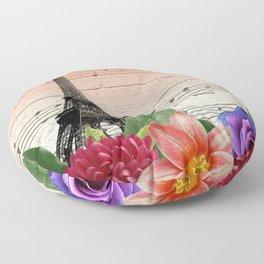 Flowers & Music in Paris Floor Pillow