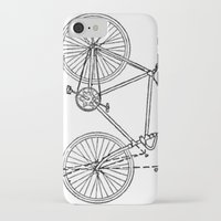 blueprint iPhone & iPod Cases featuring Bicycle Blueprint by BravuraMedia