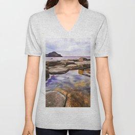The Giant's Causeway,Ireland.(Painting) Unisex V-Neck