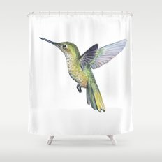 Hummingbird Watercolor Bird Animal Shower Curtain
