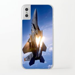 f-15 jet launching missile Clear iPhone Case