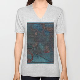 Antique Map Teal Blue and Copper Unisex V-Neck