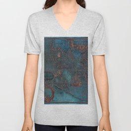 Antique Map Teal Blue and Copper Unisex V-Neck