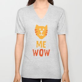Me Wow Meow Cat Lover Mewow Unisex V-Neck