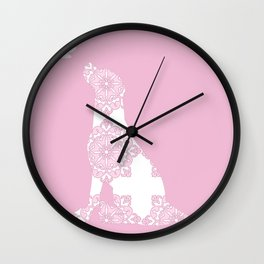 Labrador Dog on pink with dragon fly Wall Clock