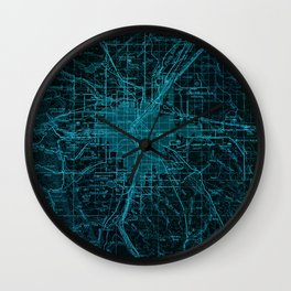 United States old maps, Denver blue year 1958 Wall Clock