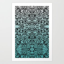 Teal Zen  Art Print