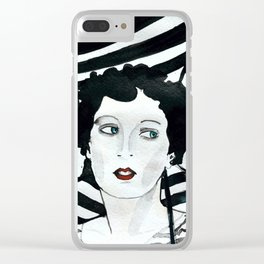 Stripy Umbrella Clear iPhone Case