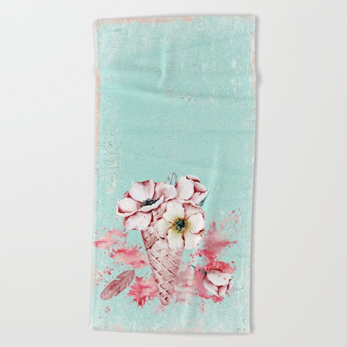 Pink & Teal Summer Fun Flower Ice Cream Waffle -Illustration Beach Towel