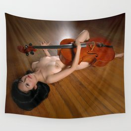 0149-JC Nude Cellist with Her Cello and Bow Naked Young Woman Musician Art Sexy Erotic Sweet Sensual Wall Tapestry