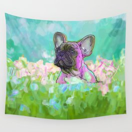 frenchie in the garden Wall Tapestry
