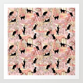Black cat caffe pink Art Print