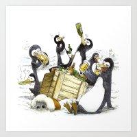 penguins Art Prints featuring Penguins by Bouletcorp