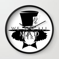 mad hatter Wall Clocks featuring Mad Hatter by Rose's Creation