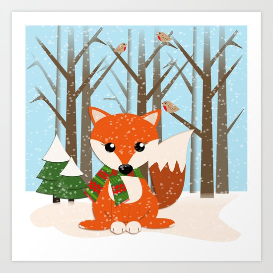 Cute winter fox with a red / green scarf, Art Print