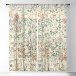 Wildflowers and Roses // Fleurs III by Adolphe Millot XL 19th Century Science Textbook Artwork Sheer Curtain