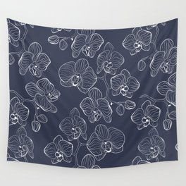 Retro . Orchid flowers on a blue background . Wall Tapestry