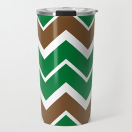 Big Chevron:  Kelly Green + Chocolate Brown Travel Mug