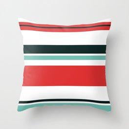 Blue, Red, Black, White Stripes Throw Pillow