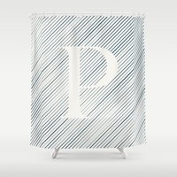 striped Shower Curtains featuring Striped P by DLUTED DESIGN
