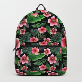 Palm and hibiscus Tropical Watercolor pattern Backpack