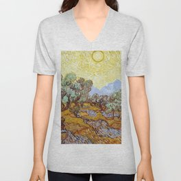 1889-Vincent van Gogh-Olive Trees with yellow sky and sun-73,66x92,71 Unisex V-Neck