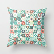hex diamond coral mint Throw Pillow