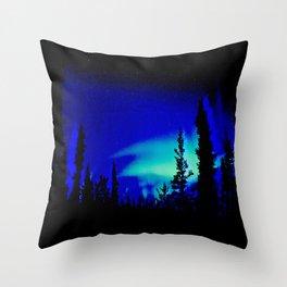 Aurora Borealis Forest Vibrant Throw Pillow