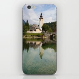 Church next to lake Bohinj iPhone Skin