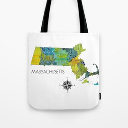 Map of MA Art Collage Tote Bag