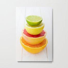 Citrus Fruits Tower - Lemon Lime Grapefruit Orange Metal Print