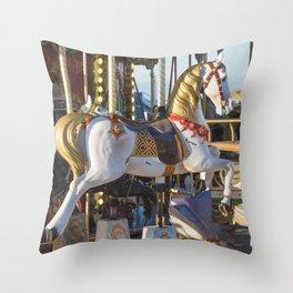 Wooden horse riding Throw Pillow